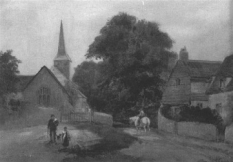 village landscape with figures by henry sr earp