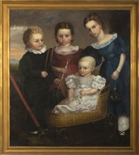 portrait of four children of the daniel family, needham, massachusetts by alvan fisher