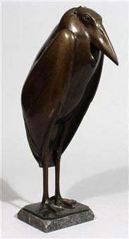 große und seltene skulptur eines stehenden marabus by wilhelm krieger
