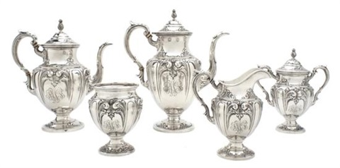 tea and coffee service set of 5 by fisher silversmiths co