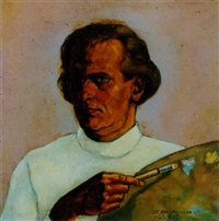 selbstportrait mit palette by theodor baumgarten