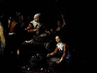 stand mit marktfrauen in einer stadt, die neben kohl und zwiebeln auch fische feilbieten by joseph dorn