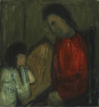 interior with mother and child by johannes hofmeister