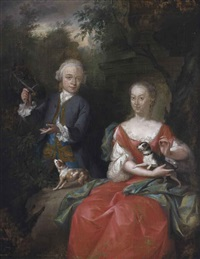portrait of ocker gevaerts (1735-1807), lord of geervliet, simonshaven and biest, and his sister johanna gevaerts (1733-1779), son and daughter... by aert schouman