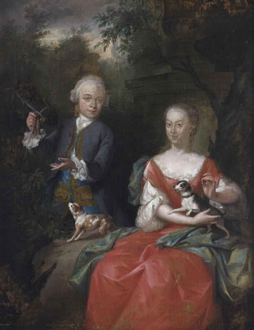 portrait of ocker gevaerts 1735 1807 lord of geervliet simonshaven and biest and his sister johanna gevaerts 1733 1779 son and daughter by aert schouman