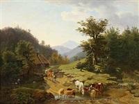 vieh an der tränke in den sommerlichen alpen by friedrich karl joseph simmler