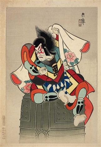 benkei sitzend auf der glocke von miidera 2 works from a series ôban by ueno torii tadamasa