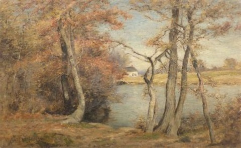 lakeside landscape autumn by albert babb insley