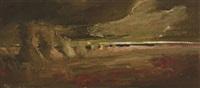 strohmandl in gewitterlandschaft by anton müller-wischin