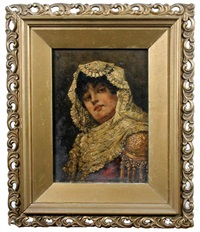 a senorita in a cream lace mantilla (+ 2 others; 3 works) by josep marti-garces de marcilla