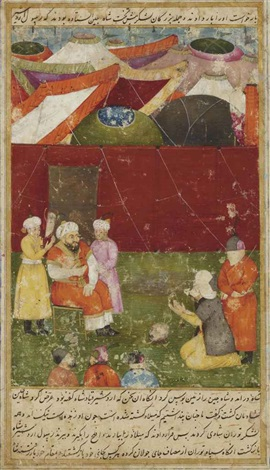 an illustration to abu tahir tarsusis dastan i qiran habashi the envoy of ardeshir appears before the khaqan of chin by lachin qalmaq