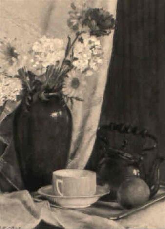 stilleben mit blumenstrauß in ziegelroter vase und gelber teetasse by ferdinand kruis