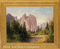 view of sentinel rock in yosemite valley by hermann herzog