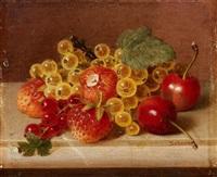kleines früchtestillleben mit erdbeeren und kirschen by jakob lehnen
