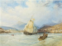 ships off a town in a mountainous landscape by charles bentley