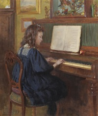 a young girl, possibly the artist's daughter, seated at a piano playing music by ernest higgins rigg