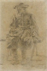 a youth seated on a bench by moses ter borch