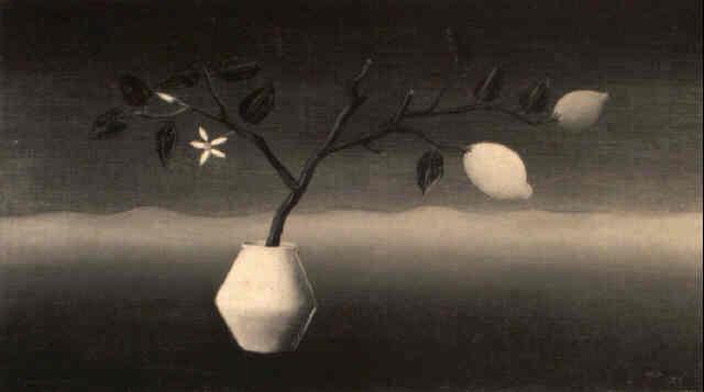 stilleven witte pul tak met 2 citroenen by tine van doornik