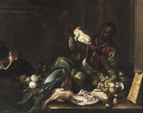 a servant spitting a chicken in a kitchen interior with a table laid with various meats and vegetables by giovanni domenico valentino