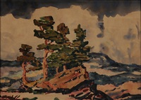 pine trees, colorado by birger sandzen