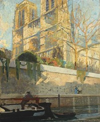 spring scenery from the seine with boatman and walking couple passing by notre dame by lucien victor félix delpy