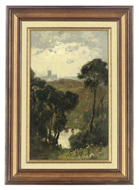canterbury from the downs by frederick george cotman