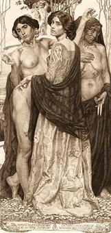 die drei lebensalter. allegorische darstellung mit drei frauen, faden, spindel und schere by sigmund lipinsky