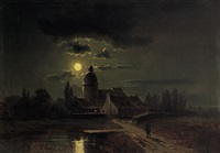 kirchdorf bei vollmond by l. lankow