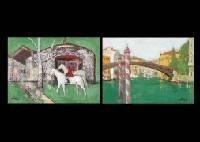 2 horses in the green background (+ 2 others; 3 works) by takashi kabeshita
