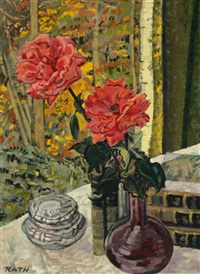 still life of roses and books on a table before a window by hildegard rath