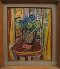 still life of flowers by a window by evie hone
