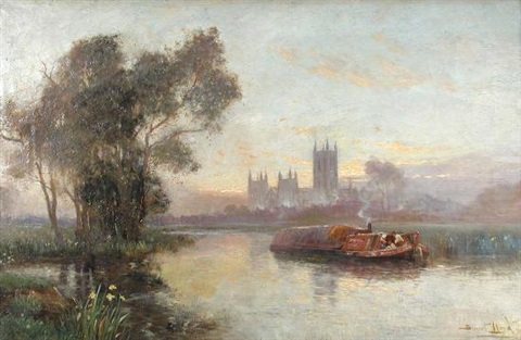 canterbury from across the stour with a barge in the foreground by william stuart lloyd