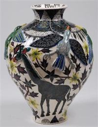 a vase (design by wonderboy nxumalo) by ardmore ceramics