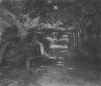 blick auf einen laubengang zu einem haus hin by wilhelm altheim