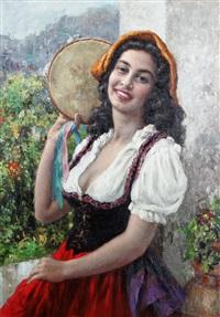 kvinna med tamburin by luigi amato
