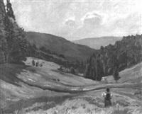 wiese in bergiger landschaft mit blumenpflückendem mädchen by conrad kayser
