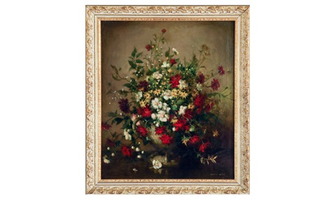 still life of mixed spring flowers in a large vase by vernon ward
