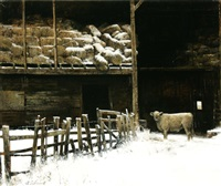 hay barn in a snow storm by adolf sehring