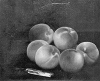 still life of peaches and pocketknife by charles armor