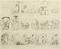 bajads og sommerfuglen (+ horsemen with windmill flower heads, ink on paper, smllr; 2 works,) by thomas arnel