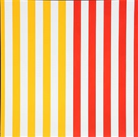 red and white stripes (+ red, yellow and white stripes; 2 works) by jes wind andersen