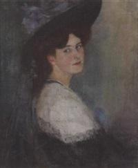 portrait einer dame mit hut by sofie-zo atteslander