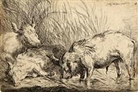schweine am weiher, pl. 4 (from schweine) by friedrich (maler müller) müller