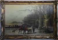paysage animé enneigé by jean ruyten and g. schneider
