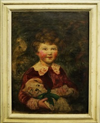 portrait of a young girl holding a teddy bear by leopold pilichowski