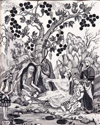 szenen aus den erzählungen ''tausenduneine nacht'' (u.a. die inseln wak-wak) (3 works) by aleksandr petrovich apsit