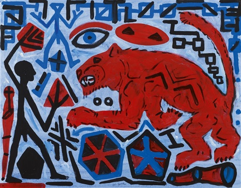 untitled roter löwe by ar penck