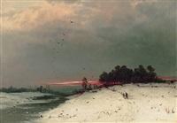 abendliche winterlandschaft by l. lankow
