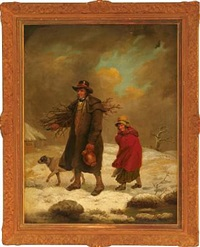 father and daughter collecting firewood on a cold winter day by m. townley