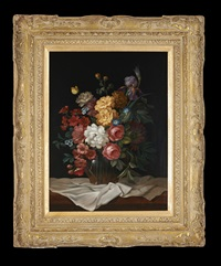 floral still life with bird pecking at the ripe pomegranate; floral still life ina glass vase (pair) by evelio garcia mata